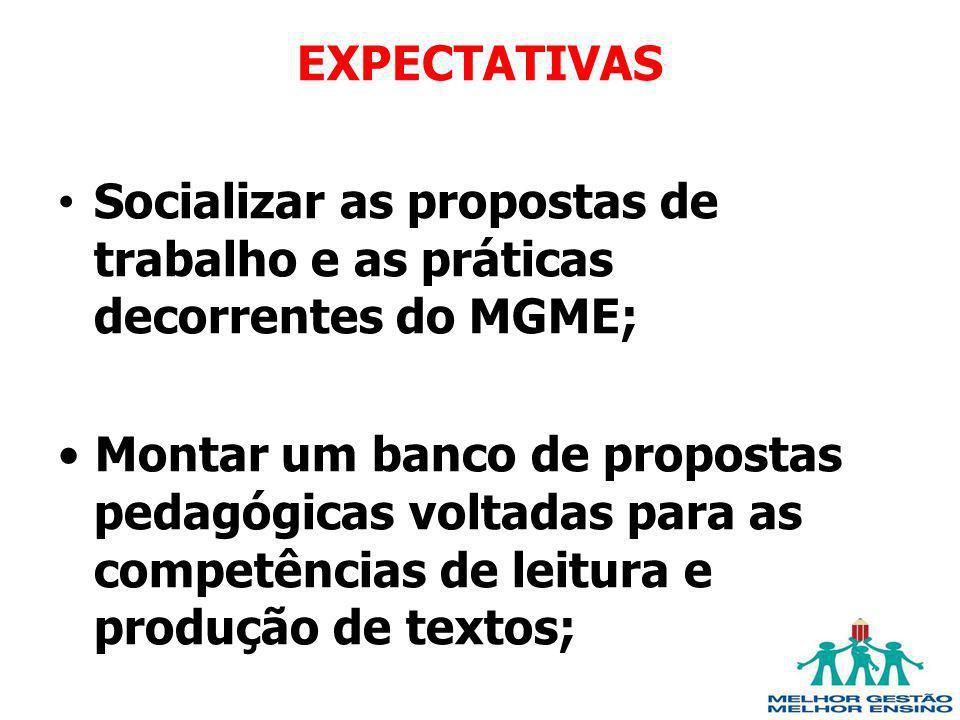 EXPECTATIVAS Socializar as propostas de trabalho e as práticas decorrentes do MGME; Montar um banco de propostas pedagógicas voltadas para as competên