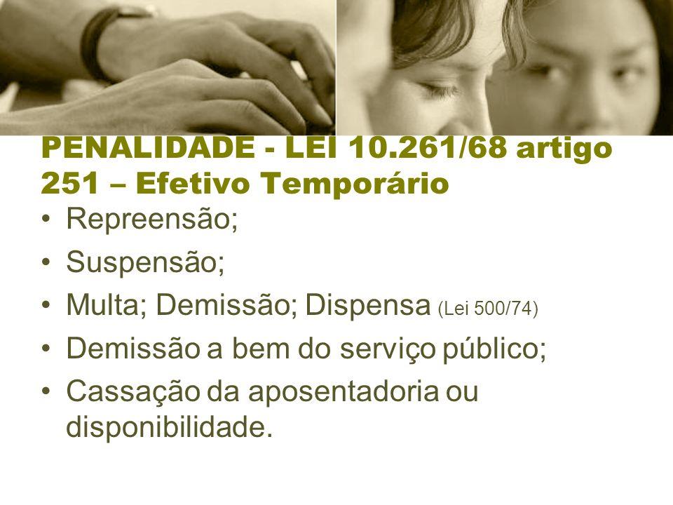 PENALIDADE - LEI 10.261/68 artigo 251 – Efetivo Temporário Repreensão; Suspensão; Multa; Demissão; Dispensa (Lei 500/74) Demissão a bem do serviço público; Cassação da aposentadoria ou disponibilidade.