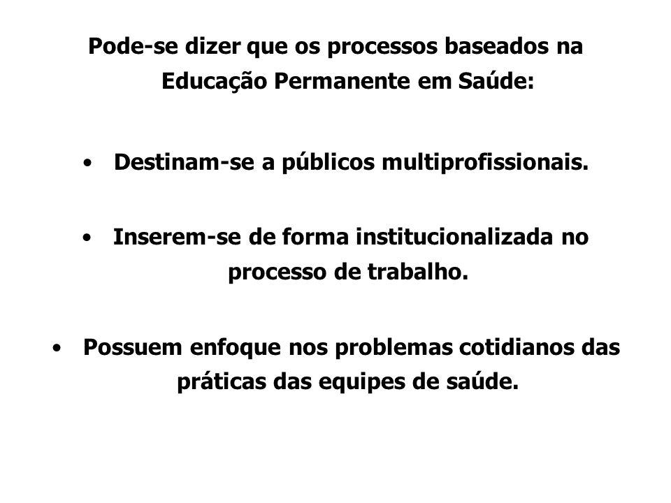 Pode-se dizer que os processos baseados na Educação Permanente em Saúde: Destinam-se a públicos multiprofissionais.