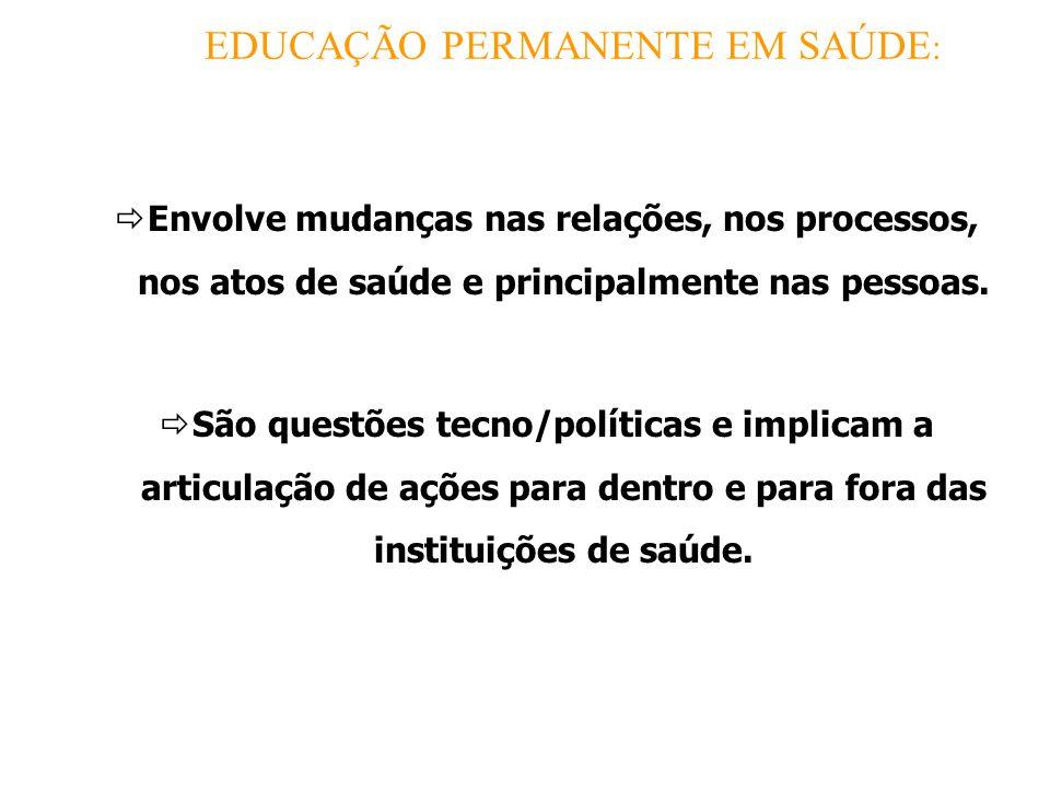 EDUCAÇÃO PERMANENTE EM SAÚDE : Envolve mudanças nas relações, nos processos, nos atos de saúde e principalmente nas pessoas.