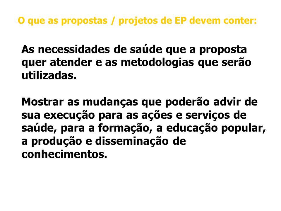 O que as propostas / projetos de EP devem conter: As necessidades de saúde que a proposta quer atender e as metodologias que serão utilizadas.