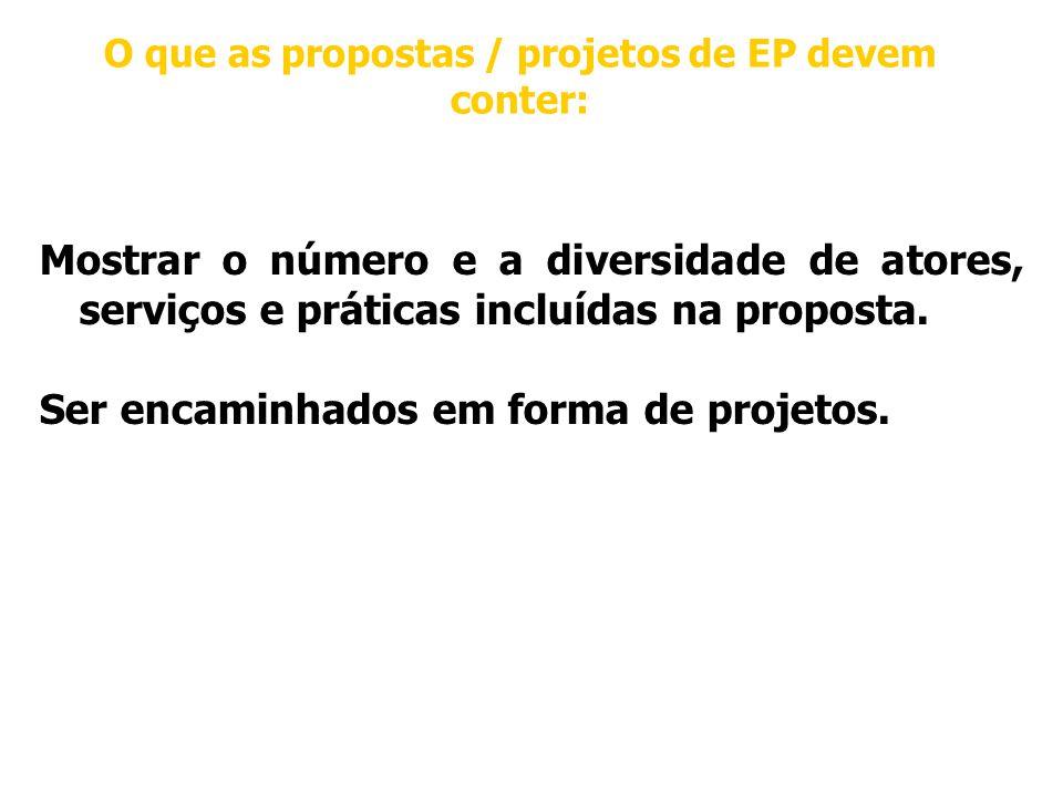 O que as propostas / projetos de EP devem conter: Mostrar o número e a diversidade de atores, serviços e práticas incluídas na proposta.