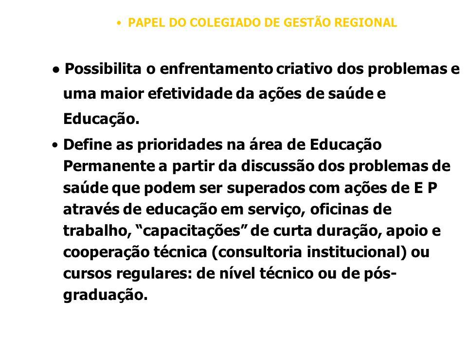 PAPEL DO COLEGIADO DE GESTÃO REGIONAL Possibilita o enfrentamento criativo dos problemas e uma maior efetividade da ações de saúde e Educação.