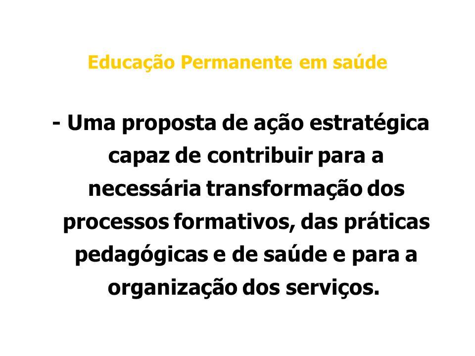 Educação Permanente em saúde - Uma proposta de ação estratégica capaz de contribuir para a necessária transformação dos processos formativos, das práticas pedagógicas e de saúde e para a organização dos serviços.