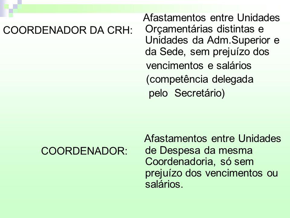 COORDENADOR DA CRH: COORDENADOR: Afastamentos entre Unidades Orçamentárias distintas e Unidades da Adm.Superior e da Sede, sem prejuízo dos vencimento