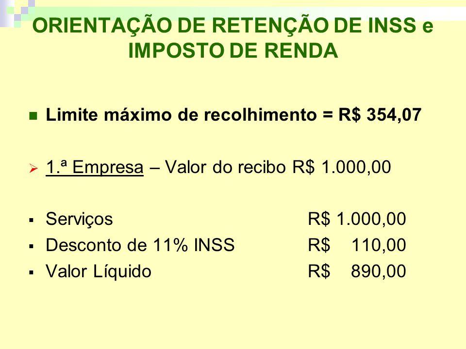 ORIENTAÇÃO DE RETENÇÃO DE INSS e IMPOSTO DE RENDA Limite máximo de recolhimento = R$ 354,07 1.ª Empresa – Valor do recibo R$ 1.000,00 ServiçosR$ 1.000,00 Desconto de 11% INSS R$ 110,00 Valor LíquidoR$ 890,00