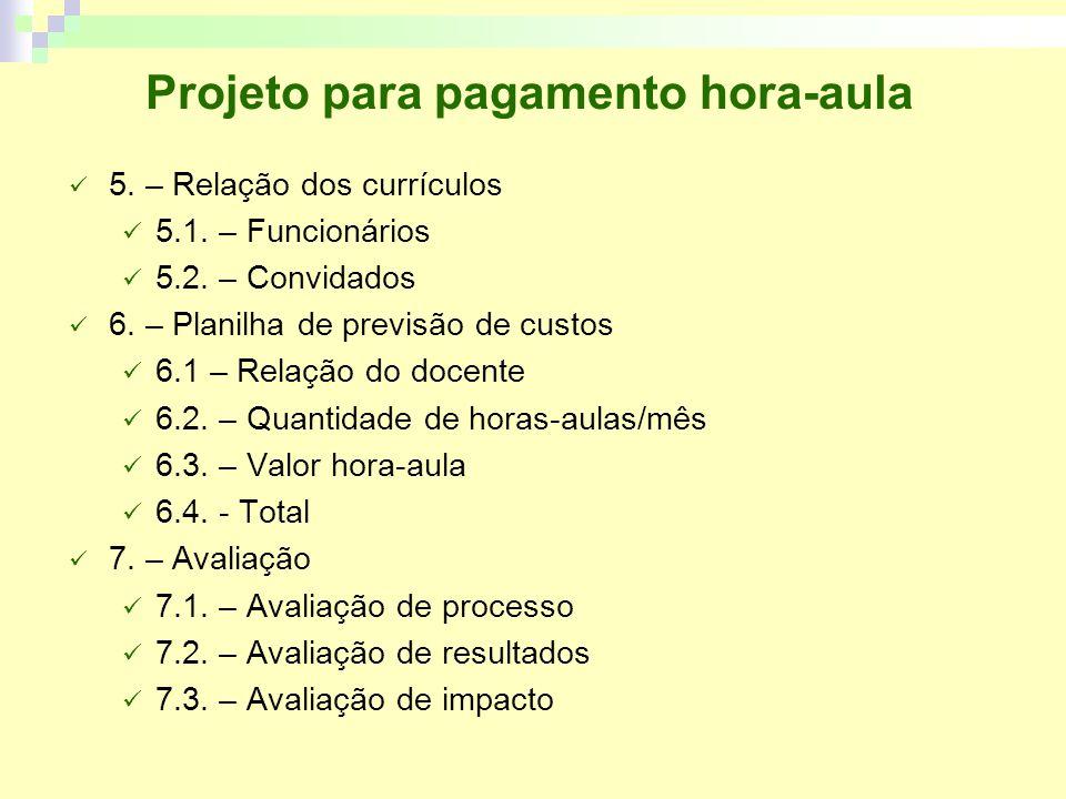 Projeto para pagamento hora-aula 5.– Relação dos currículos 5.1.