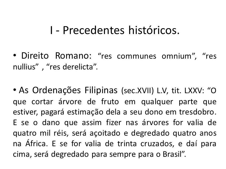 I - Precedentes históricos. Direito Romano: res communes omnium, res nullius, res derelicta. As Ordenações Filipinas (sec.XVII) L.V, tit. LXXV: O que