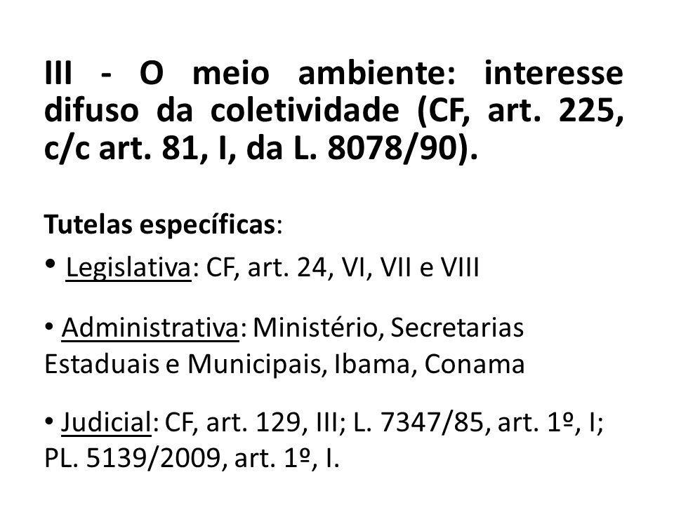 III - O meio ambiente: interesse difuso da coletividade (CF, art. 225, c/c art. 81, I, da L. 8078/90). Tutelas específicas: Legislativa: CF, art. 24,