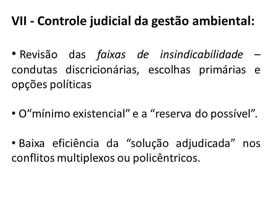 VII - Controle judicial da gestão ambiental: Revisão das faixas de insindicabilidade – condutas discricionárias, escolhas primárias e opções políticas