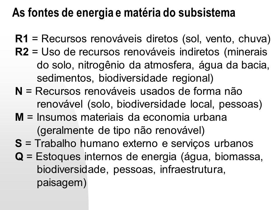 As fontes de energia e matéria do subsistema R1 = Recursos renováveis diretos (sol, vento, chuva) R2 = Uso de recursos renováveis indiretos (minerais