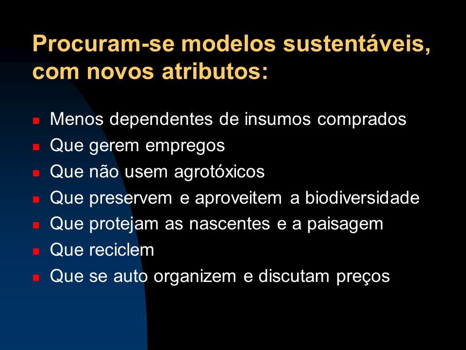 Procuram-se modelos sustentáveis, com novos atributos: Menos dependentes de insumos comprados Que gerem empregos Que não usem agrotóxicos Que preserve