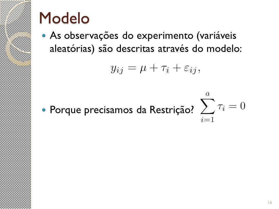 Modelo As observações do experimento (variáveis aleatórias) são descritas através do modelo: Porque precisamos da Restrição? 16