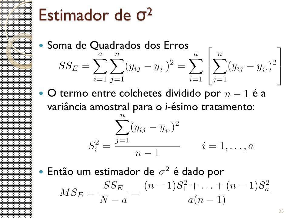 25 Soma de Quadrados dos Erros O termo entre colchetes dividido por é a variância amostral para o i-ésimo tratamento: Então um estimador de é dado por