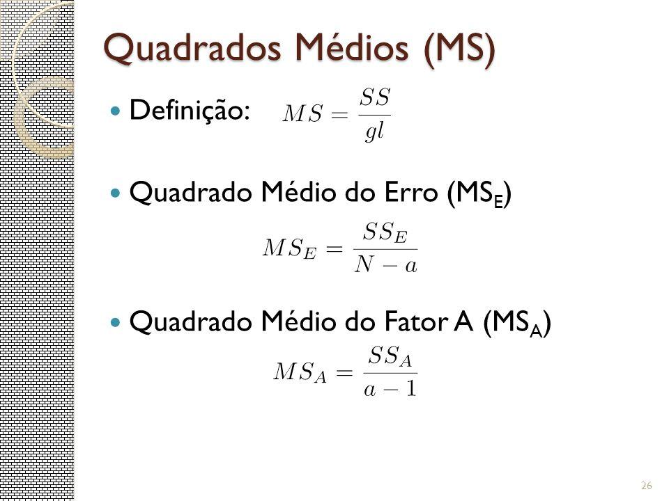 Quadrados Médios (MS) Definição: Quadrado Médio do Erro (MS E ) Quadrado Médio do Fator A (MS A ) 26
