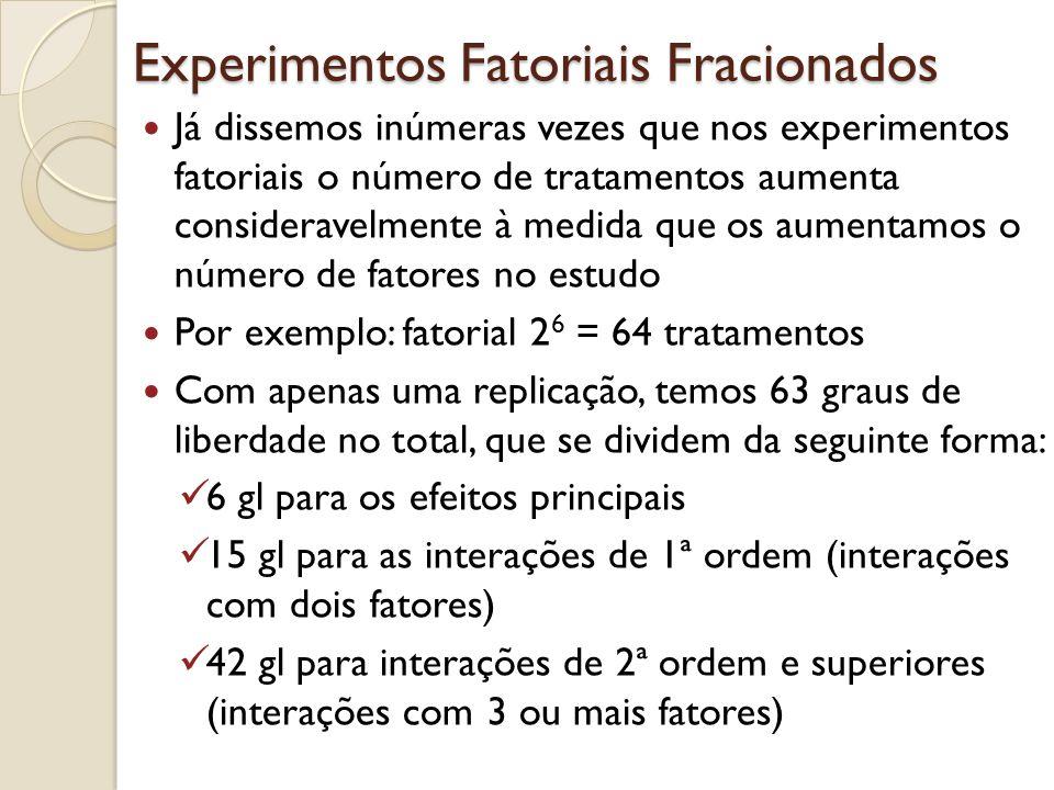 Experimentos Fatoriais Fracionados Já dissemos inúmeras vezes que nos experimentos fatoriais o número de tratamentos aumenta consideravelmente à medid