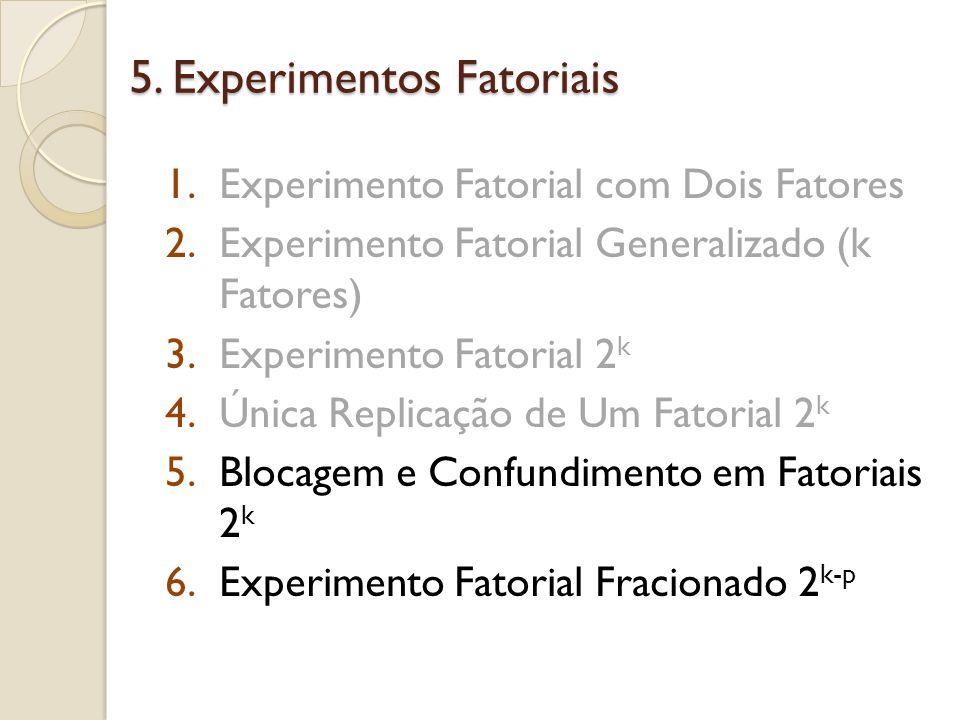 5. Experimentos Fatoriais 1.Experimento Fatorial com Dois Fatores 2.Experimento Fatorial Generalizado (k Fatores) 3.Experimento Fatorial 2 k 4.Única R