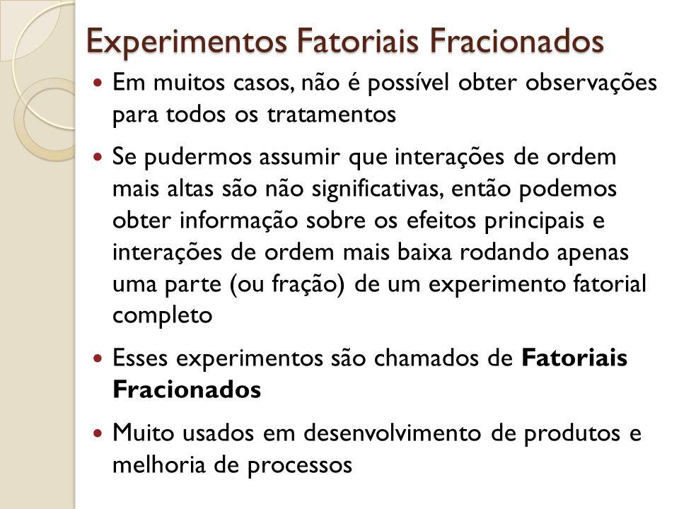 Experimentos Fatoriais Fracionados Em muitos casos, não é possível obter observações para todos os tratamentos Se pudermos assumir que interações de o