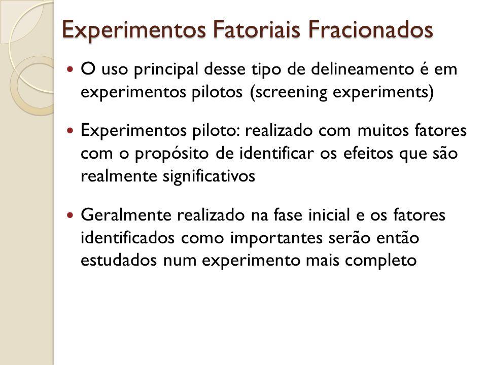 Experimentos Fatoriais Fracionados O uso principal desse tipo de delineamento é em experimentos pilotos (screening experiments) Experimentos piloto: r