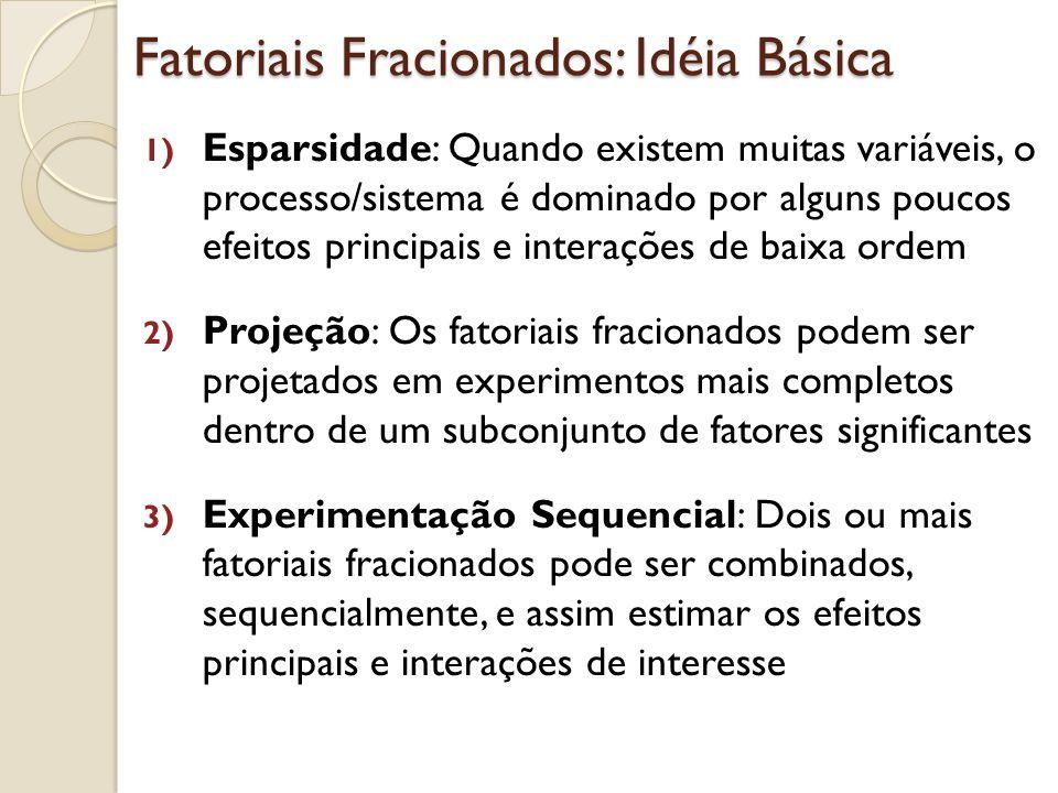 Fatoriais Fracionados: Idéia Básica 1) Esparsidade: Quando existem muitas variáveis, o processo/sistema é dominado por alguns poucos efeitos principai