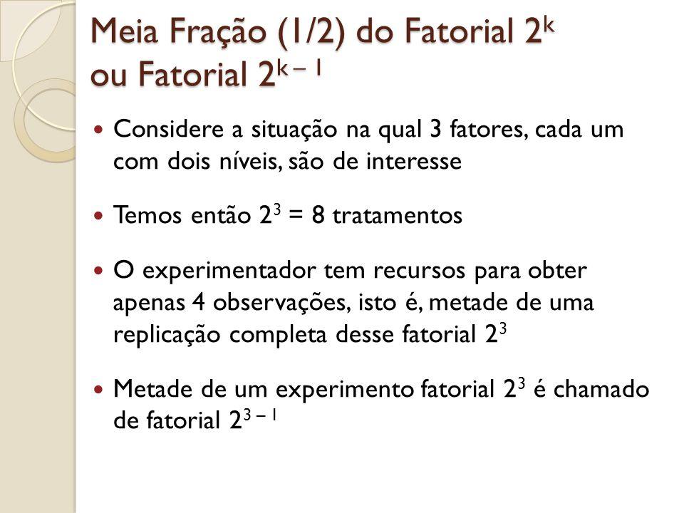 Meia Fração (1/2) do Fatorial 2 k ou Fatorial 2 k – 1 Considere a situação na qual 3 fatores, cada um com dois níveis, são de interesse Temos então 2