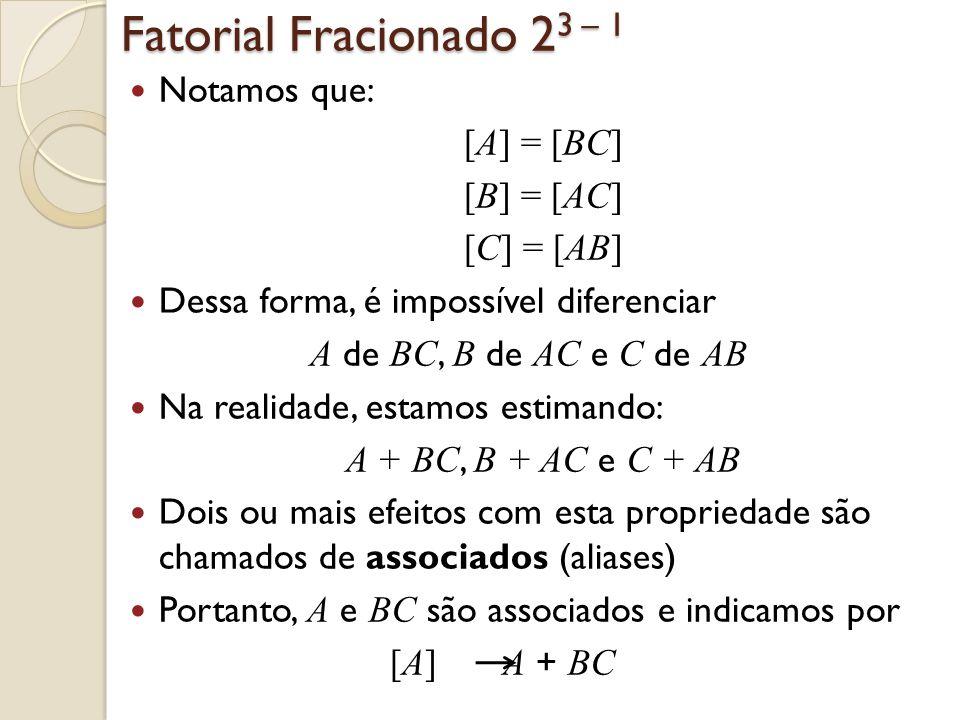 Fatorial Fracionado 2 3 – 1 Notamos que: [A] = [BC] [B] = [AC] [C] = [AB] Dessa forma, é impossível diferenciar A de BC, B de AC e C de AB Na realidad