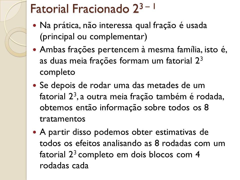 Fatorial Fracionado 2 3 – 1 Na prática, não interessa qual fração é usada (principal ou complementar) Ambas frações pertencem à mesma família, isto é,