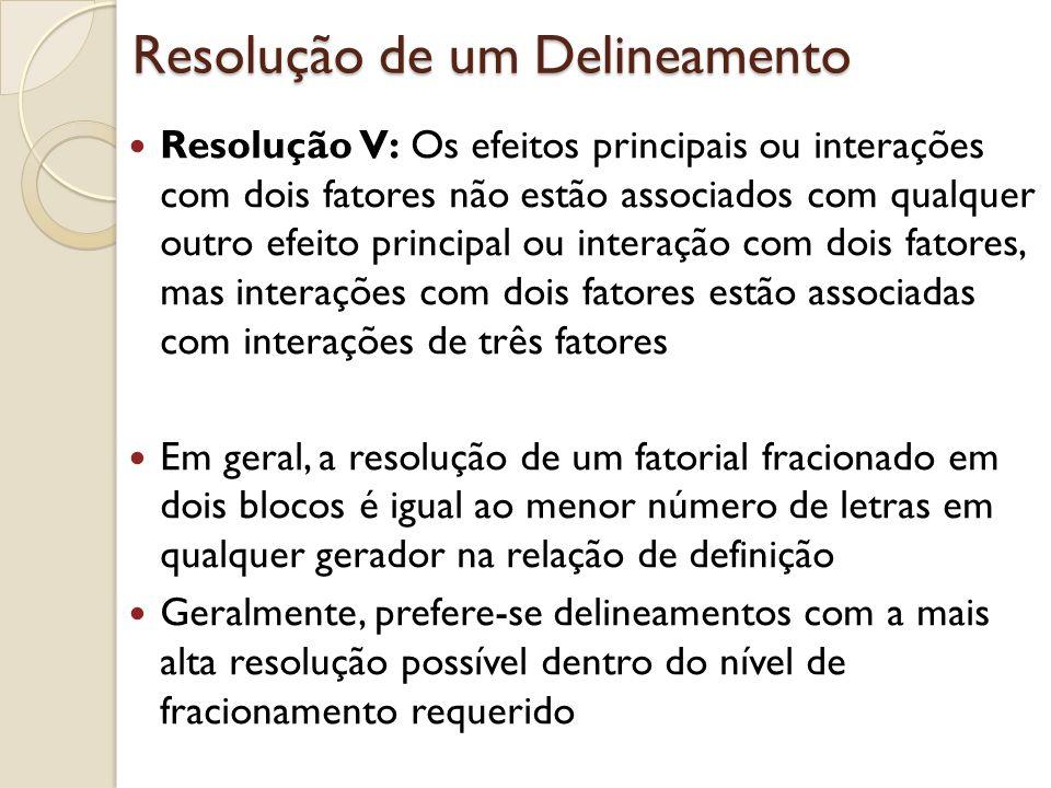 Resolução de um Delineamento Resolução V: Os efeitos principais ou interações com dois fatores não estão associados com qualquer outro efeito principa