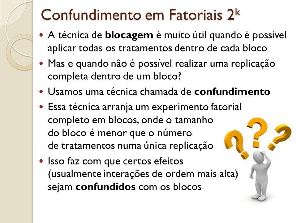 Confundimento em Fatoriais 2 k Os experimentos que iremos estudar aqui são delineamentos em blocos incompletos, já que cada bloco não contém todos os tratamentos Ainda assim, a estrutura especial dos fatoriais 2 k permite uma método de análise simplificado Iremos considerar a construção e análise de fatoriais 2 k em 2 p blocos incompletos, onde p < k Isso quer dizer que podemos usar dois blocos (p= 1 ), quatro blocos (p= 2 ), oito blocos (p= 3 ) e assim por diante