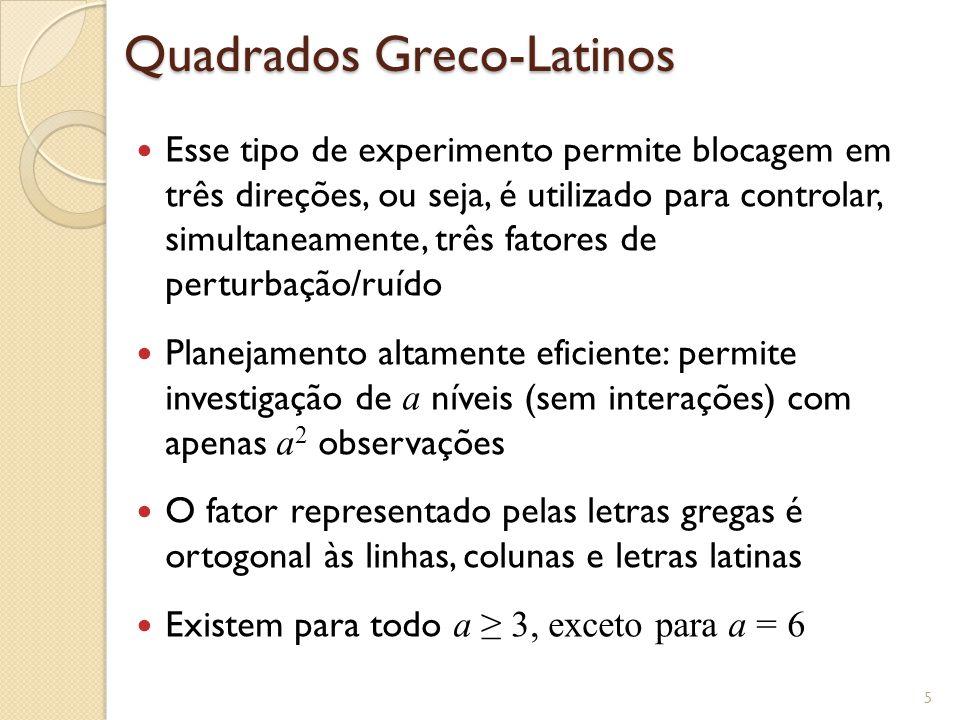 Quadrados Greco-Latinos Esse tipo de experimento permite blocagem em três direções, ou seja, é utilizado para controlar, simultaneamente, três fatores
