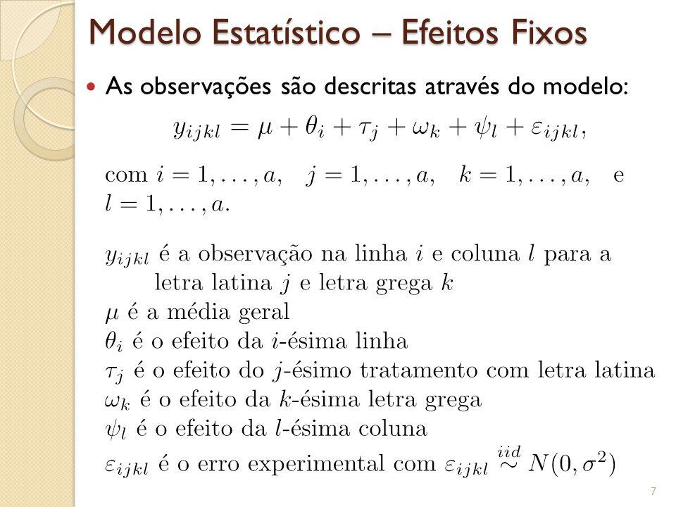 Modelo Estatístico – Efeitos Fixos As observações são descritas através do modelo: 7