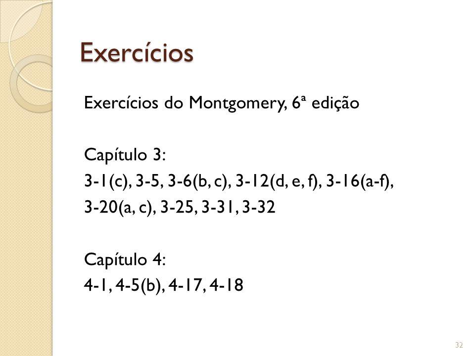 Exercícios Exercícios do Montgomery, 6ª edição Capítulo 3: 3-1(c), 3-5, 3-6(b, c), 3-12(d, e, f), 3-16(a-f), 3-20(a, c), 3-25, 3-31, 3-32 Capítulo 4: 4-1, 4-5(b), 4-17, 4-18 32