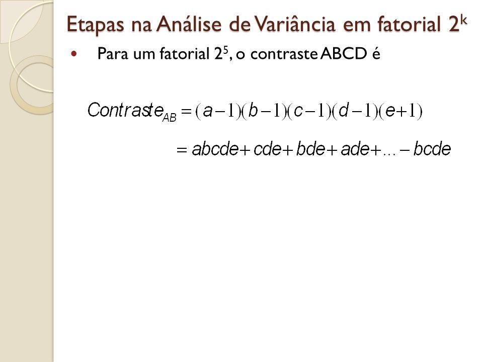 Etapas na Análise de Variância em fatorial 2 k Para um fatorial 2 5, o contraste ABCD é