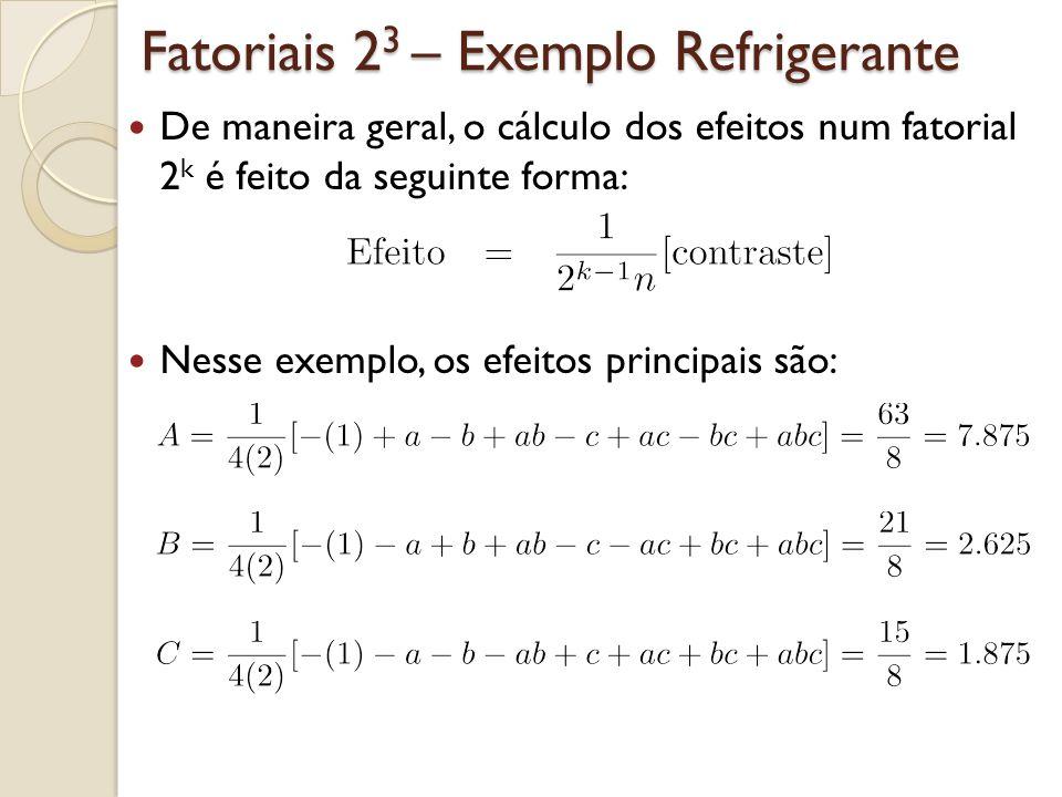 Fatoriais 2 3 – Exemplo Refrigerante De maneira geral, o cálculo dos efeitos num fatorial 2 k é feito da seguinte forma: Nesse exemplo, os efeitos pri