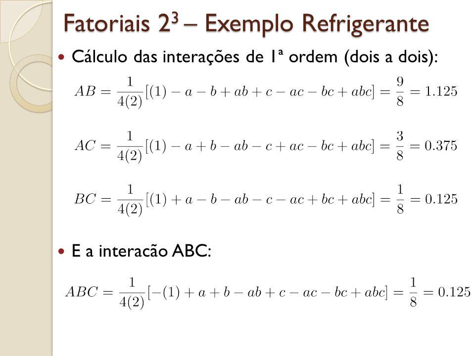 Fatoriais 2 3 – Exemplo Refrigerante Cálculo das interações de 1ª ordem (dois a dois): E a interacão ABC: