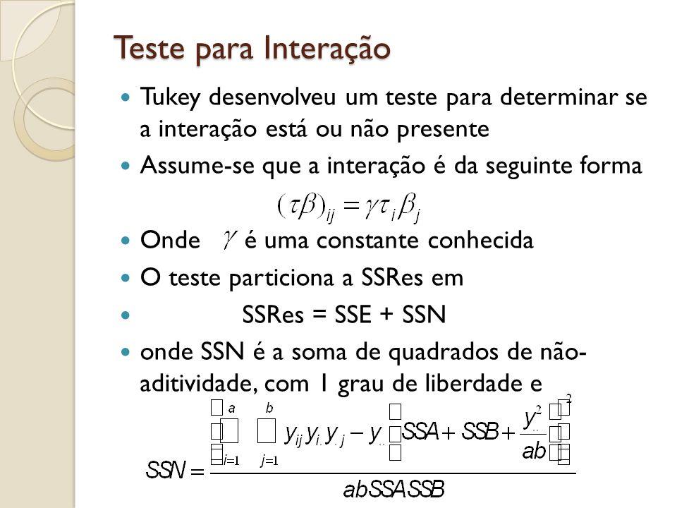 Teste para Interação Tukey desenvolveu um teste para determinar se a interação está ou não presente Assume-se que a interação é da seguinte forma Onde é uma constante conhecida O teste particiona a SSRes em SSRes = SSE + SSN onde SSN é a soma de quadrados de não- aditividade, com 1 grau de liberdade e