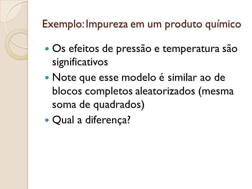 Os efeitos de pressão e temperatura são significativos Note que esse modelo é similar ao de blocos completos aleatorizados (mesma soma de quadrados) Qual a diferença