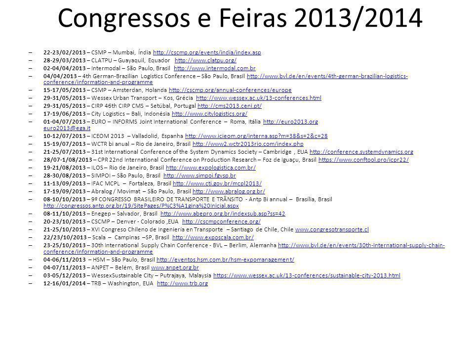 Congressos e Feiras 2013/2014 – 22-23/02/2013 – CSMP – Mumbai, Índia http://cscmp.org/events/india/index.asphttp://cscmp.org/events/india/index.asp –
