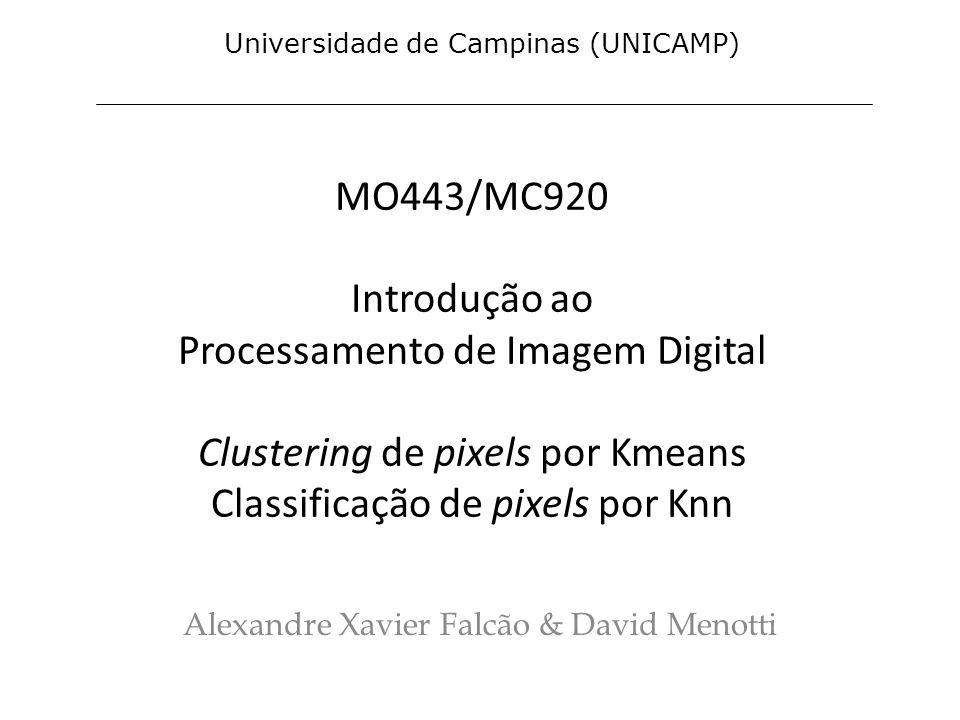 MO443/MC920 Introdução ao Processamento de Imagem Digital Clustering de pixels por Kmeans Classificação de pixels por Knn Alexandre Xavier Falcão & Da