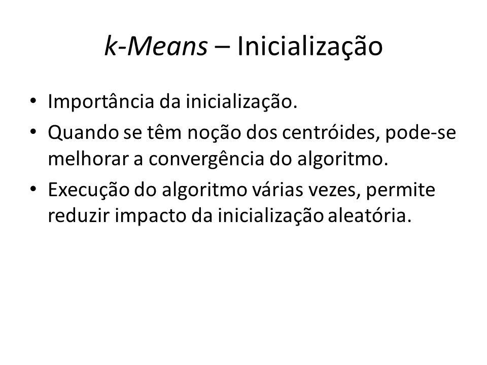 k-Means – Inicialização Importância da inicialização. Quando se têm noção dos centróides, pode-se melhorar a convergência do algoritmo. Execução do al
