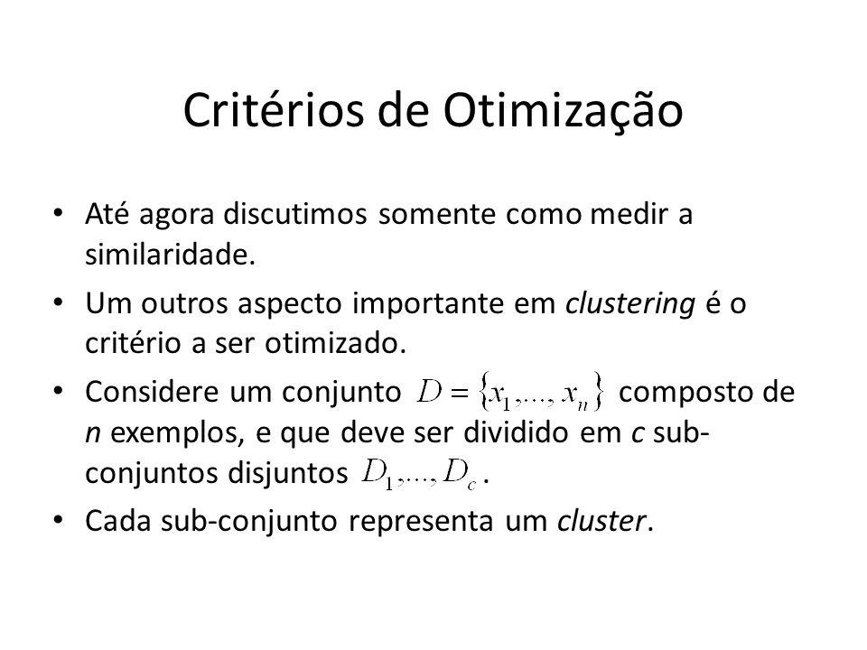Critérios de Otimização Até agora discutimos somente como medir a similaridade. Um outros aspecto importante em clustering é o critério a ser otimizad