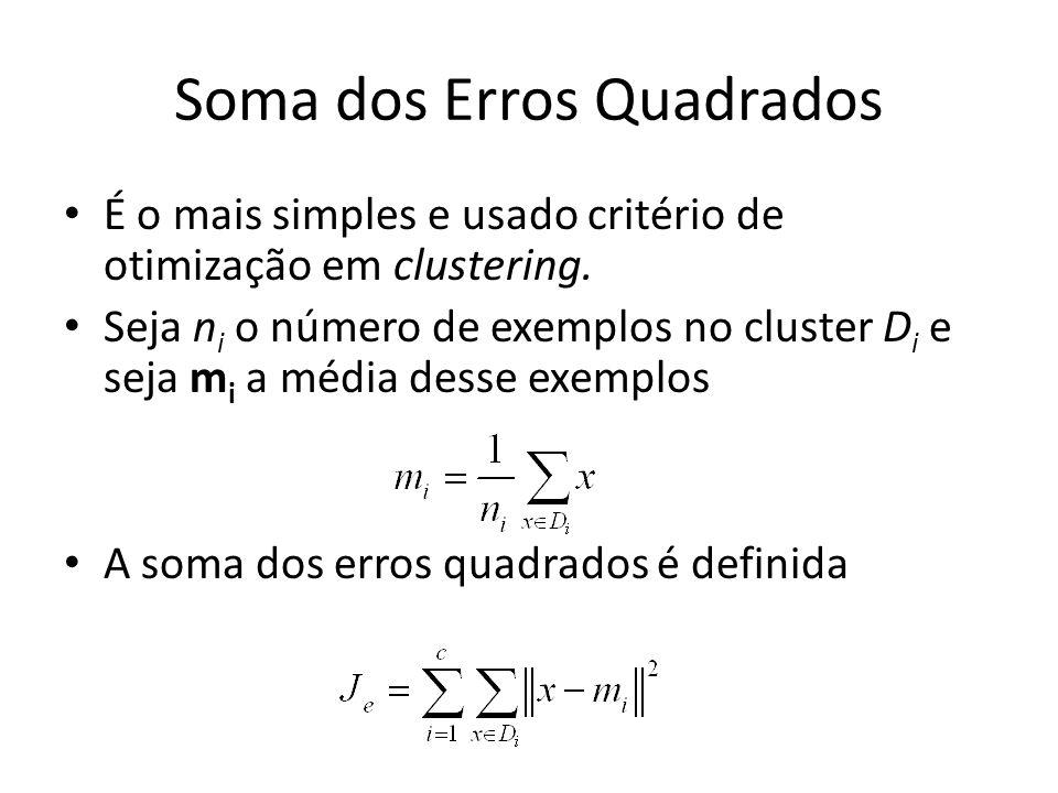 Soma dos Erros Quadrados É o mais simples e usado critério de otimização em clustering. Seja n i o número de exemplos no cluster D i e seja m i a médi