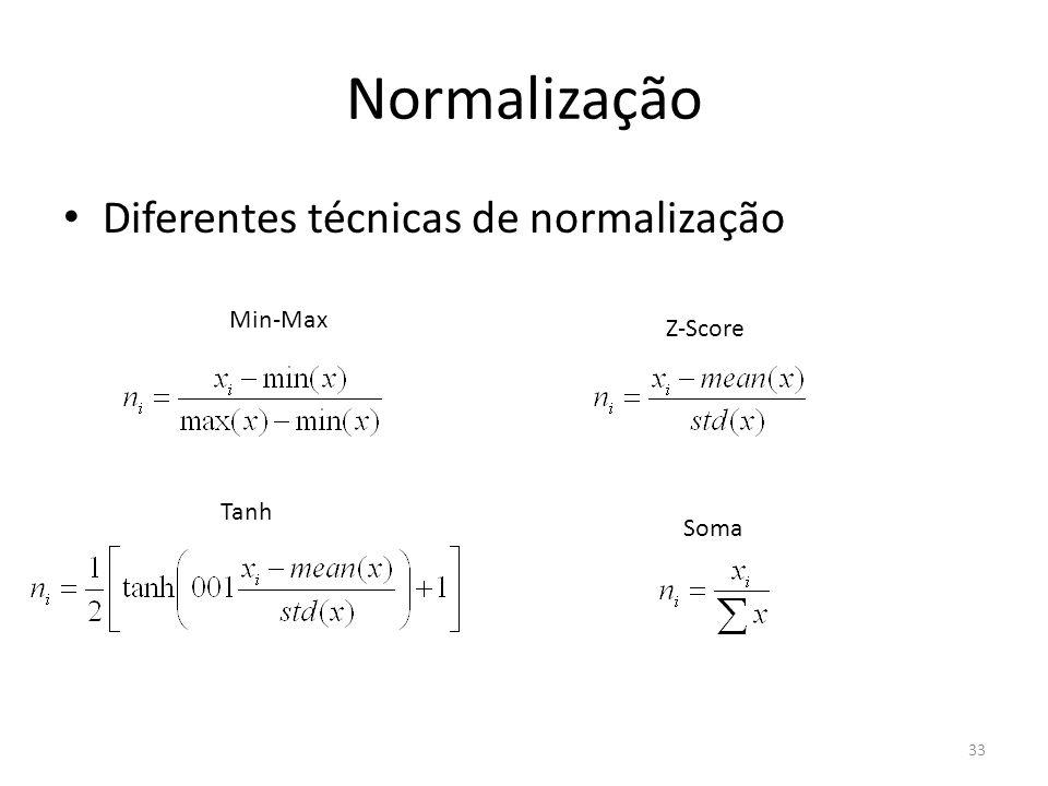Normalização Diferentes técnicas de normalização Min-Max Z-Score Tanh Soma 33
