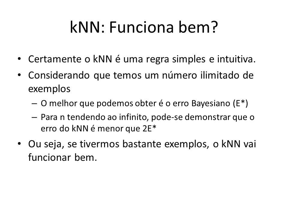 kNN: Funciona bem? Certamente o kNN é uma regra simples e intuitiva. Considerando que temos um número ilimitado de exemplos – O melhor que podemos obt