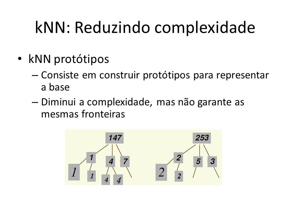 kNN: Reduzindo complexidade kNN protótipos – Consiste em construir protótipos para representar a base – Diminui a complexidade, mas não garante as mes