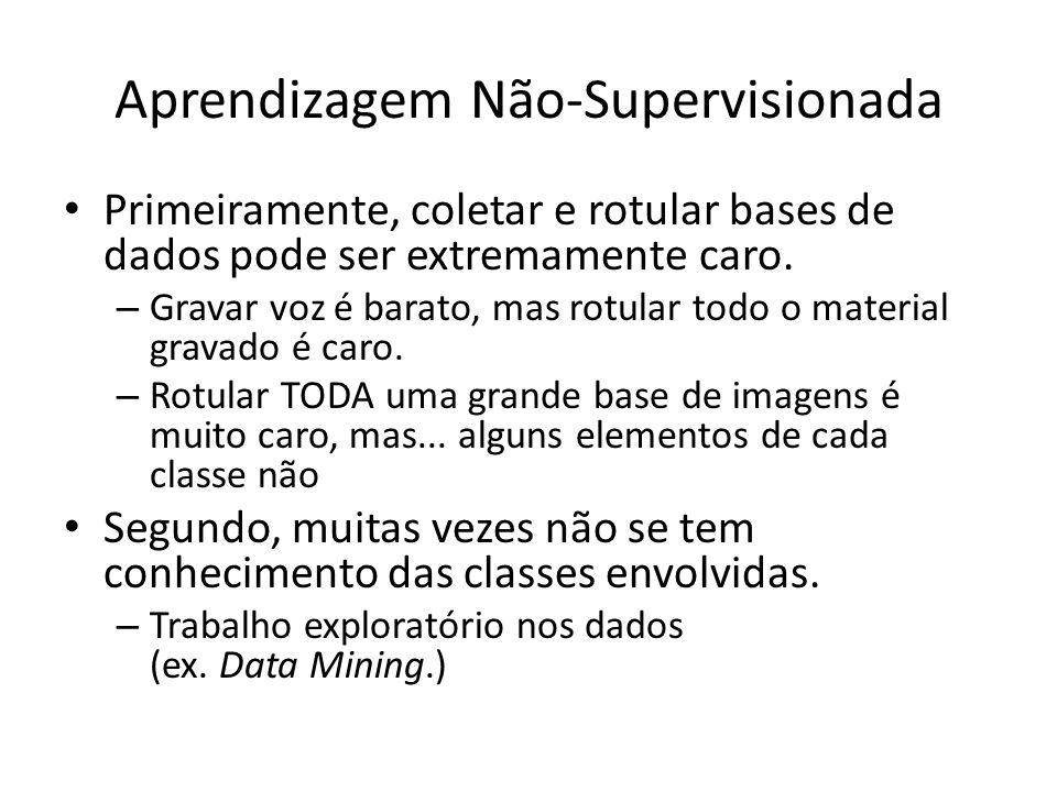 Aprendizagem Não-Supervisionada Pré-classificação: – Suponha que as categorias envolvidas são conhecidas, mas a base não está rotulada.