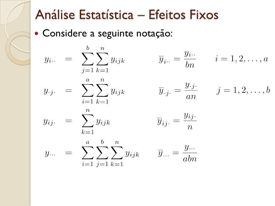Análise Estatística – Efeitos Fixos Considere a seguinte notação: