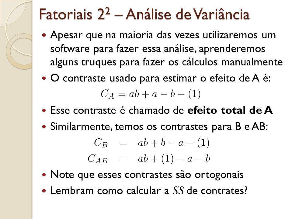Fatoriais 2 2 – Análise de Variância Apesar que na maioria das vezes utilizaremos um software para fazer essa análise, aprenderemos alguns truques par