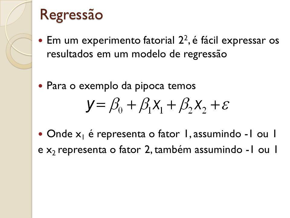 Regressão Em um experimento fatorial 2 2, é fácil expressar os resultados em um modelo de regressão Para o exemplo da pipoca temos Onde x 1 é represen