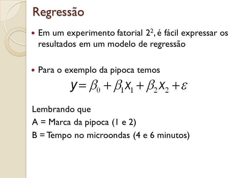 Regressão Em um experimento fatorial 2 2, é fácil expressar os resultados em um modelo de regressão Para o exemplo da pipoca temos Lembrando que A = M